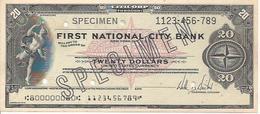 UNITED STATES CHECK TRAVELLERS  CHEQUE CITICORP 20 DOLLARS SPECIMEN BLACK - Assegni & Assegni Di Viaggio