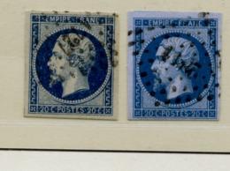 A2D-N°14B Bleu Sur Lilas   Sans Défaut Nuance Certifiée Calves Et JF Brun - 1853-1860 Napoléon III