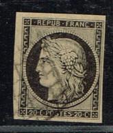 A2D-N°3 Noir Sur Chamois Clair Signé Roumet - 1849-1850 Ceres