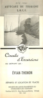 DEPLIANT TOURISTIQUE 1951  SNCF  S.N.C.F. AUTOCARS DE TOURISME EVIAN THONON   CIRCUITS D'EXCURSIONS  VOIR TOUS LES SCANS - Tourism Brochures