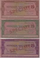GREAT BRITAIN CHECK TRAVELLERS CHEQUE WESTMINSTER BANK. 2, 5 AND 10 POUNDS SPECIMEN - Assegni & Assegni Di Viaggio