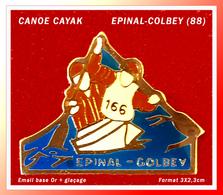 SUPER PIN'S CANOE-KAYAK : Club D'EPINAL - GOLBEY (88), émail Base Or + Glaçage, Format 3X2,3cm - Canoeing, Kayak