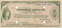 JAPAN  CHECK TRAVELLERS CHEQUE BANK OF TOKYO  20 DOLLARS SPECIMEN - Assegni & Assegni Di Viaggio
