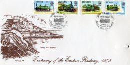 JERSEY 1973 Railways FDC (hole Punched) - Jersey