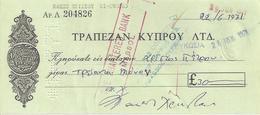 CYPRUS  CHECK CHEQUE BANK OF CYPRUS 1971 - Chèques & Chèques De Voyage