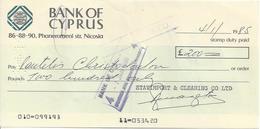 CYPRUS  CHECK CHEQUE BANK OF CYPRUS 1985 - Chèques & Chèques De Voyage