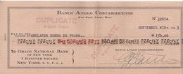 COSTA RICA  CHECK CHEQUE BANCO ANGLO COSTARRICENCE 1943 - Chèques & Chèques De Voyage