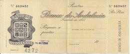SPAIN  CHECK CHEQUE BANCO DE ANDALUCIA 1960'S EMBLEM - Chèques & Chèques De Voyage