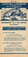FEUILLET TOURISTIQUE 1951  SNCF  S.N.C.F. AUTOCARS DE TOURISME  EXCURSIONS  ENTREPRENEUR  TRAVEL BUREAU  DINARD - Dépliants Touristiques