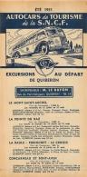 FEUILLET TOURISTIQUE 1951  SNCF  S.N.C.F. AUTOCARS DE TOURISME  EXCURSIONS  ENTREPRENEUR  LE BAYON QUIBERON - Dépliants Touristiques