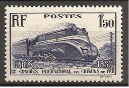 FRANCE 1937 - YT N°340 - 1 F. 50 Outremer - Congrès International Des Chemins De Fer à Paris - Neuf** - TTB Etat - Nuovi