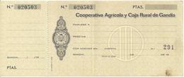 SPAIN  CHECK CHEQUE COOP. AGRICOLA Y CAJA RURAL DE GANDIA 1960'S - Chèques & Chèques De Voyage