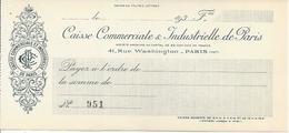 FRANCE  CHECK CHEQUE CAISSE COMM. & INDUSTRIELLE DE PARIS 1930'S SMALL - Chèques & Chèques De Voyage