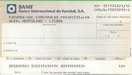 PORTUGAL CHECK CHEQUE BANCO INTERNACIONAL DO FUNCHAL 1980'S REVENUE - Chèques & Chèques De Voyage