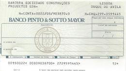 PORTUGAL CHECK CHEQUE BANCO PINTO & SOTTO MAIOR 1980'S LISBOA DQ. DE AVILA - Assegni & Assegni Di Viaggio