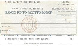 PORTUGAL CHECK CHEQUE BANCO PINTO & SOTTO MAIOR 1980'S LISBOA PEREIRA MELO - Chèques & Chèques De Voyage