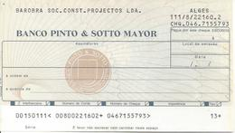 PORTUGAL CHECK CHEQUE BANCO PINTO & SOTTO MAIOR 1980'S ALGES - Assegni & Assegni Di Viaggio