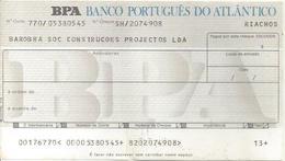 PORTUGAL CHECK CHEQUE BANCO PORTUGUÊS DO ATLANTICO 1980'S RIACHOS - Chèques & Chèques De Voyage