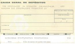 PORTUGAL CHECK CHEQUE CAIXA GERAL DE DEPÓSITOS 1980'S CALHARIZ - Assegni & Assegni Di Viaggio