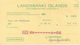 ICELAND CHECK CHEQUE LANDSBANK ISLANDS  1972 - Chèques & Chèques De Voyage