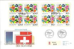 Schweiz Suisse 1988: 1ère Emission Commune Suisse-France: Luxusbrief Tinguely Mit 4er-Blocks Schweiz & France - Emissions Communes