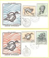 SAN MARINO - 1971 - Arte Etrusca - 2 FDC Filagrano - FDC