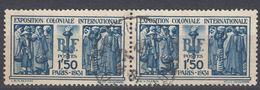 FRANCE Francia Frankreich - 1931 - Coppia Di Yvert 274 Obliterati Uniti Fra Loro, 1,50 F, Blu, - Gebraucht