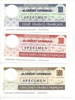 FRANCE CHECK TRAVELLERS CHEQUE CREDIT LYONNAIS 100, 200 AND 500 FF 1970'S - Chèques & Chèques De Voyage