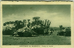 AFRICA - ERITREA - MASSAUA - TUKUL IN STUOIA - EDIT CARTOLERIA A.O. 1930s (BG700) - Eritrea