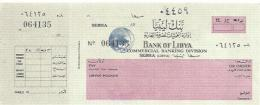 LIBYA CHECK CHEQUE BANK OF LIBYA, SEBHA, 1960'S REVOLUTION ERA. RARE REVENUE - Cheques & Traveler's Cheques