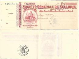 BELGIUM CHECK CHEQUE SOCIETÉ GENERALE 1910'S REVENUE - Assegni & Assegni Di Viaggio