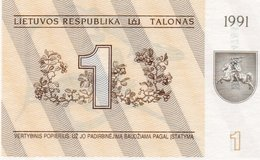 LITUANIA 1 TALONAS 1991 UNC P-32 - Lituanie