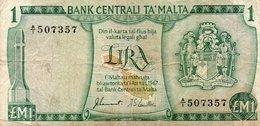 MALTA 1 LIRA/POUND 1973 P-31a VG  PREFIX A/1 - Malta