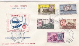 ILK GUN ZRFI ISTAMBUL INTERNACIONAL STAMP EXHIBITION FDC 1963 5 COLOUR STAMPS- BLEUP - 1921-... Republiek