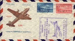 """1950-Cuba (cat.Pellegrini N.357 € 250) Aerogramma Busta Ufficiale I°volo C.C.A. Avana-Roma Del 2 Aprile """"La Ruta De Las - Airmail"""