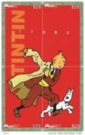 T04255 China Phone Cards Tintin Puzzle 4pcs - BD