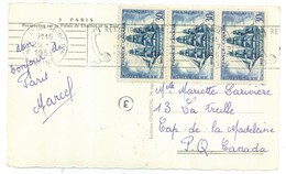 3 Fois 30 Francs -  25/07/1955 Vers Le CANADA Sur Carte Postale - Marcophilie (Lettres)