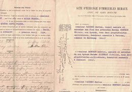 1934 ACTE D'ECHANGE D'IMMEUBLES RURAUX VAUDREY MARIUS BERTHON FELICIE VERCRAZ BERTHET GABRIEL GUIFFRAY CLOTILDE INNIMONT - France