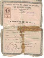 1919 CERTIFICAT DE TRAVAIL MIRABEAU HOTEL & RESTAURANT AIX-LES-BAINS A GRUPALLE ANTOINE - France