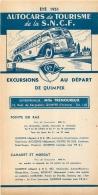 FEUILLET TOURISTIQUE 1951 SNCF AUTOCARS  DE TOURISME EXCURSIONS AU DEPART DE QUIMPER ENTREPRENEUR TREMOUREUX - Tourism Brochures