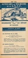 FEUILLET TOURISTIQUE 1951 SNCF AUTOCARS  DE TOURISME EXCURSIONS AU DEPART DE SAUMUR ENTREPRENEUR HAYE - Dépliants Touristiques