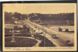 37355 . TOURS . LE PONT WILSON VU DU SQUARE RABELAIS . (recto/verso)   ANNEE  1938 . ANCIEN VEHICULE - Tours