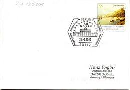 """BRD Amtl.GZS-Umschlag USo 125/01 WSt. 55(C) Oberes Mittelrheintal SSt """"50 Jahre EU - Brandenburger Tor"""" 25.3.2007 BERLIN - Buste - Usati"""