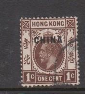 Hong Kong British Post Offices In China  1917  1c Brown Used - Hong Kong (...-1997)