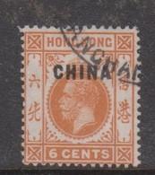 Hong Kong British Post Offices In China  1917  6c Orange, Used - Hong Kong (...-1997)