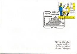 "BRD Amtl.GZS-Umschlag USo143 WSt. 55(C) Post-Zusteller SSt""Kieler Woche 2008 Flaggschiff Fregatte Bayern"" 21.6.2008 KIEL - Buste - Usati"