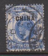 Hong Kong British Post Offices In China  1917  10c Blue, Used, - Hong Kong (...-1997)