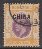Hong Kong British Post Offices In China  1917  30c Purple And Orange-yellow,used - Hong Kong (...-1997)