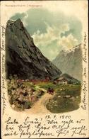 Lithographie Romedalhorn Norwegen, Teilansicht, Siedlung Im Tal - Norvège