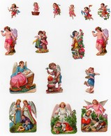Petite CHROMO Découpis Enfants Anges Angelots Ailes Musique Fleurs Arc Flêche Carquois Bébé Poupée Lit (16 Chromos) - Enfants